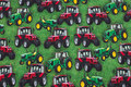 Grass green cotton-jersey with tractors.