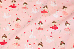 Light red cotton-poplin with swans and ballet girls