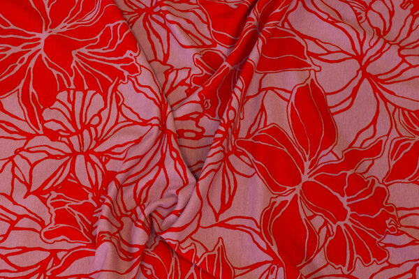 Light viscose-jersey in soft red with red pattern