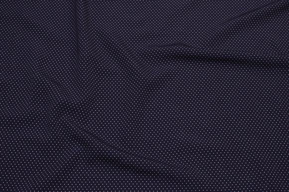 Lightweight navy micro-polyester with white mini-dots