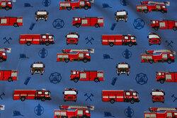 Medium-blue cotton-jersey with ca. 7 cm fire trucks