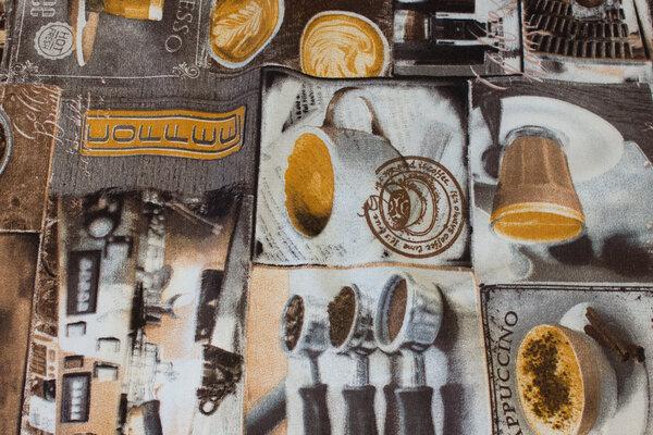 Medium-thickness deko-cotton with coffee-motifs