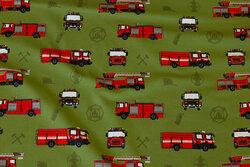 Moss-green cotton-jersey with ca. 7 cm fire trucks