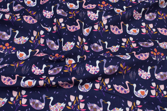 Navy baby corduroy with soft red and light-purple swans
