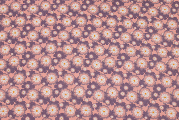Old rose organic patchwork-cotton with ca. 25 mm flowers