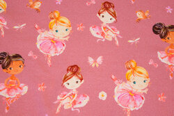 Organic, old rose cotton-jersey with ballet girls