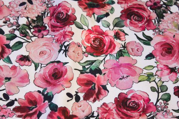 Organic, softened sweatshirt fabric in white with roses