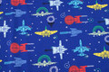 Royal blue cotton-jersey with spaceships.