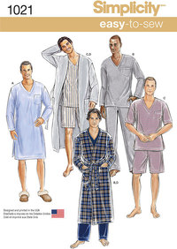 Mens Classic Pajamas and Robe. Simplicity 1021.