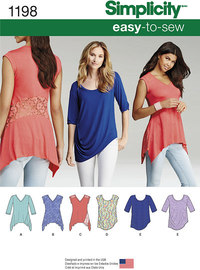 Misses´ Knit Tops in Two Styles. Simplicity 1198.