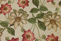 Tapestry in light sand-colored with flowers