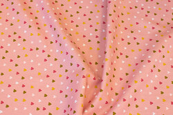 Old rose cotton-poplin with small hearts