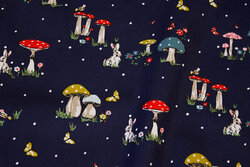 Navy cotton-poplin with mushrooms