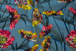 Light petrol viscose-jersey with flowers