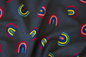 Charcoal cotton-jersey with ca. 3 cm rainbows