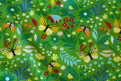 Light sweatshirt fabric in clear green with butterflies