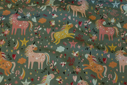 Dusty-green cotton-jersey with ca. 6 cm unicorns