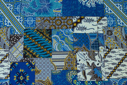 Firm cotton with javaprint in blue nuances
