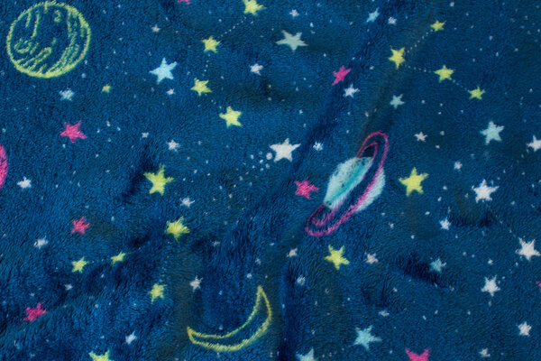 Supersoft micro-fleece in dark petrol with planets and stars