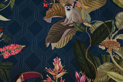 Beautiful petrol-colored, medium-thickness cotton with jungle leaves, birds and monkies