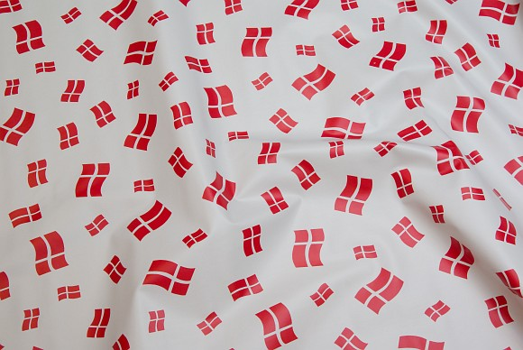 White coated fabric with Danish flags, different sizes