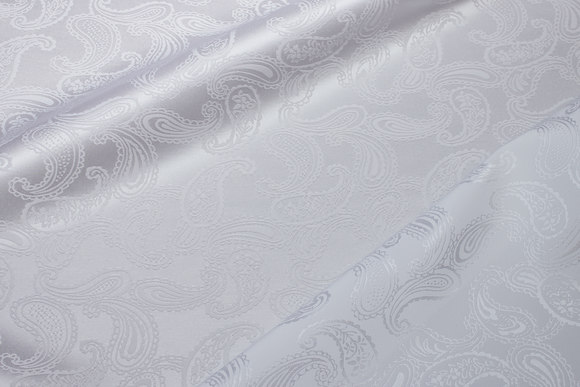 White jacquard-woven polyester satin with paisley-pattern