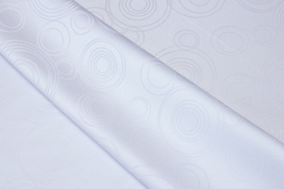 White polyester-jacquard for table cloths mm.