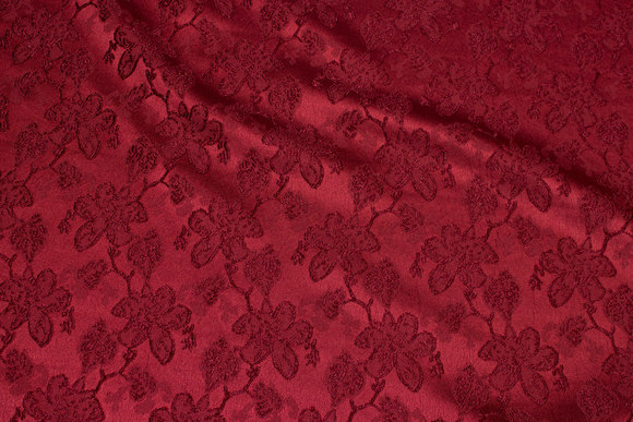 Wine-red jacquard-satin with flower pattern