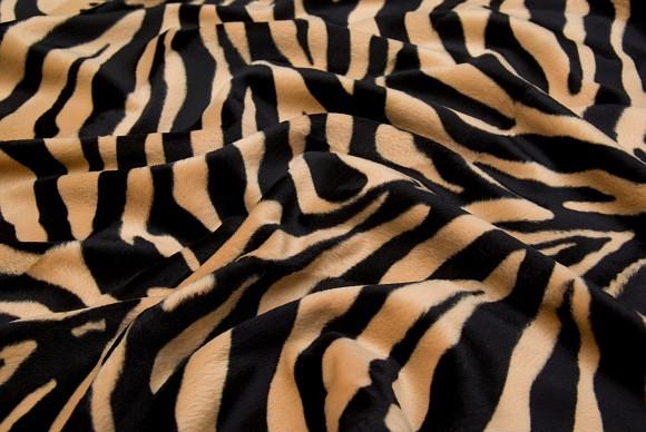 Zebra fake fur in sand and black