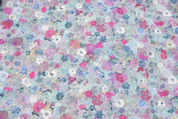 Cotton-jersey in blue and pink akvarel colors