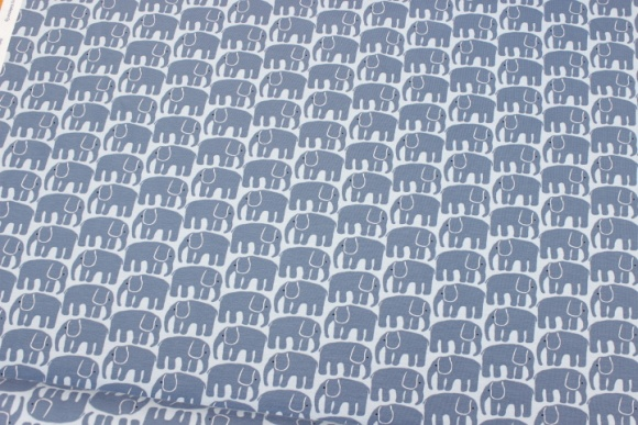 Light blue cotton-jersey with dove-blue elephants