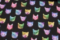 Black sweatshirt fabric-stretch with colorful cats in neontryk