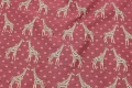 Cerise furniture fabric with girafs.