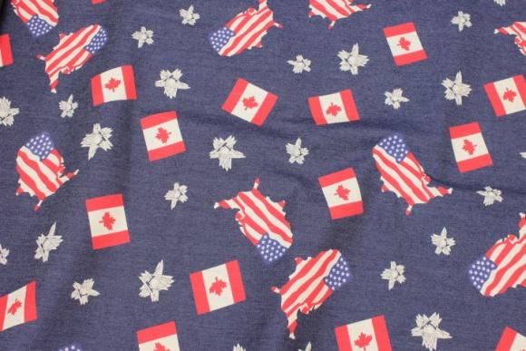 Stretch-denim with USA and Canada motifs