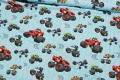 Turqoise cotton-jersey with monster-cars