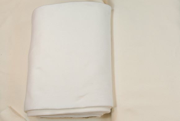 Rib fabric in cotton-lycra in white, off-white