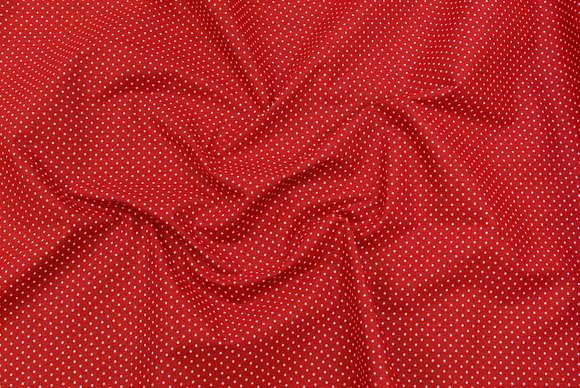Cotton in red with white dots