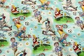 Fun cotton fabric in cotton with different atheletes playin tennis, baseball, soccer and more with varying success. A fun choice for drapes or linen.