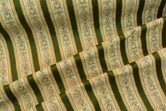 Biedermeier furniture fabric with green stripes