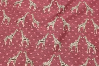 Cerise furniture fabric with girafs
