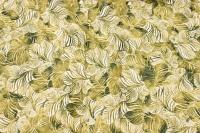 Deko-cotton with green leaf-pattern