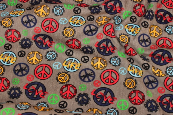 Dirt-colored stretch-velvet with peace-motifs