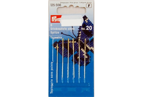 Embroidery needles with point, 6 pcs, no. 20