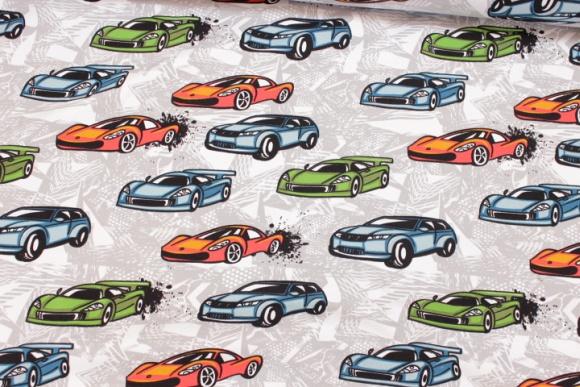 Light grey sweatshirt fabric-stretch with race cars