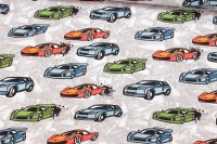 Light grey sweatshirt fabric-stretch with race cars