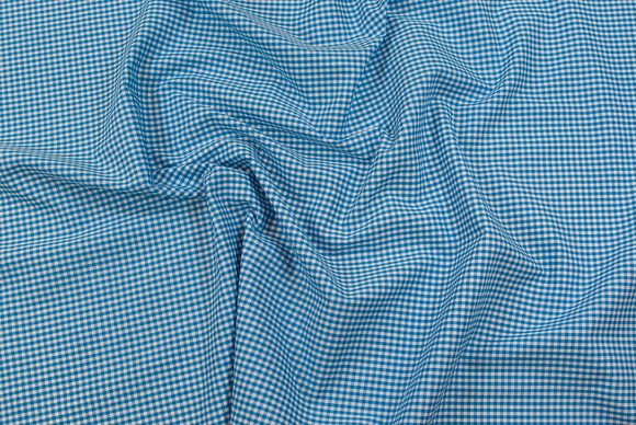 Light polyester-cotton mini-checkers in turqoise