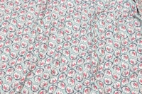 Light turqoise cotton-jersey with navy and pink flowers