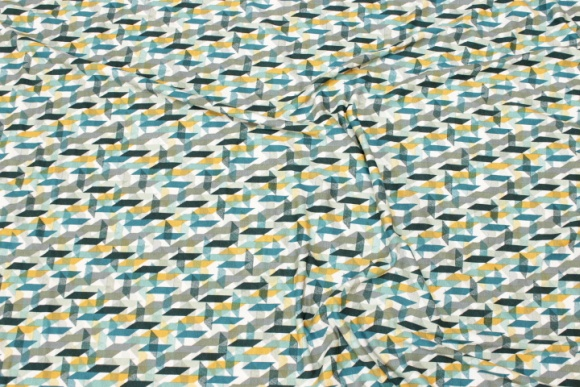 Lightweight viscose-jersey with graphical pattern in petrol and golden