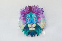 Lion head holografic purpleandturquoise 7x6cm