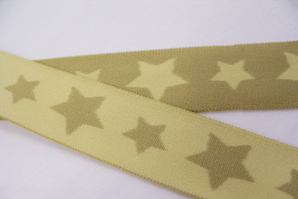 Olive soft elastic with stars 3cm
